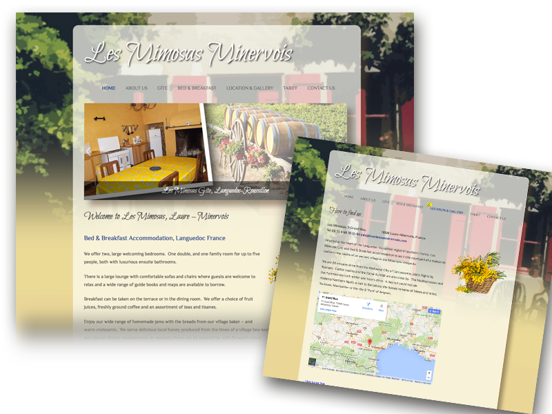 Les Mimosas Minervois website